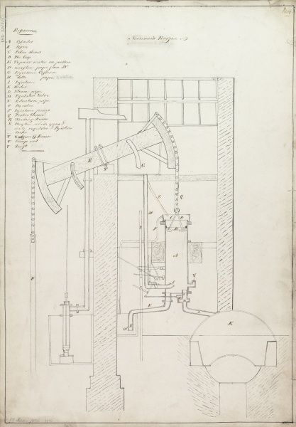 Newcomen's engine, drawing no 4 Date: 1826