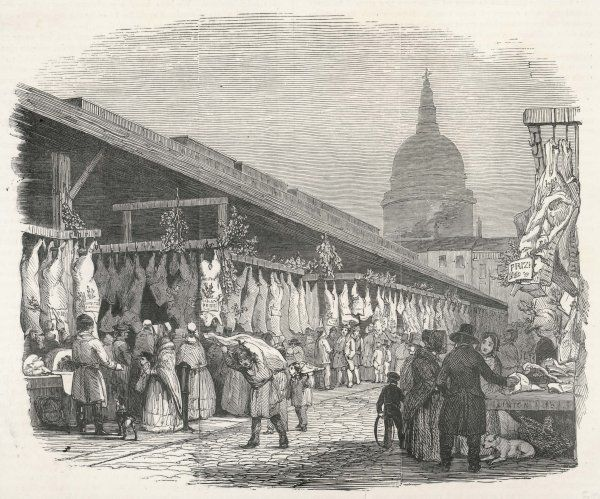 Newgate Market, in the City of London, is stocked with food for Christmas Eve shoppers