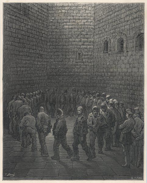 Originally the principal west gate of London, Newgate was the target of Elizabeth Fry's efforts to improve prison conditions. Men in the exercise yard