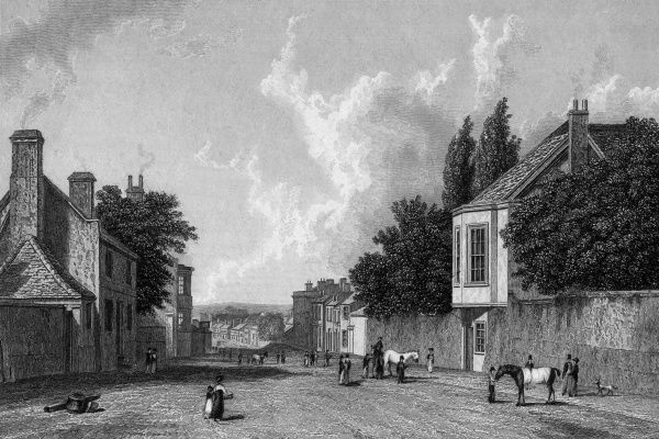 The entrance to Newmarket, Suffolk -- the town is synonymous with horse racing in England, and the Jockey Club has its premises here. Date: 1828