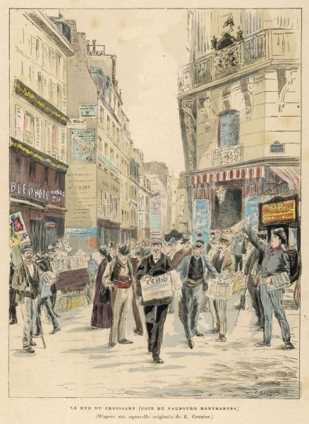Animated scene at the junction of the rue du Croissant and du Faubourg Montmartre, Paris, with newspaper sellers competing for custom