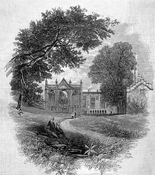 Engraving showing Newstead Abbey, Nottinghamshire, the seat of the Byron family from 1540 until 1818, when it was sold by George Gordon, Lord Byron (1788-1824). This view shows the West Front of the monastic church, dating from the late 13th century