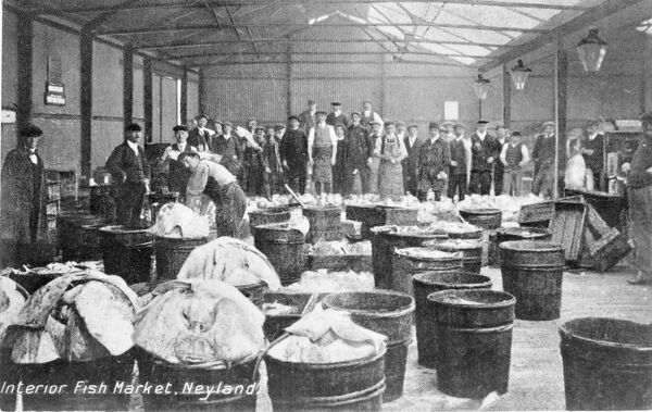 View inside the Fish Market in the coastal town of Neyland, Pembrokeshire, South Wales. The Ice Factory and Fish Market were opened on 16 November 1908