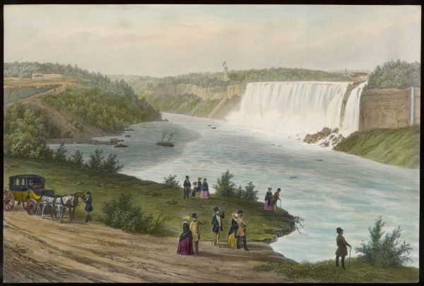 Sightseers gaze in awe at the American Falls, to which they have travelled by carriage