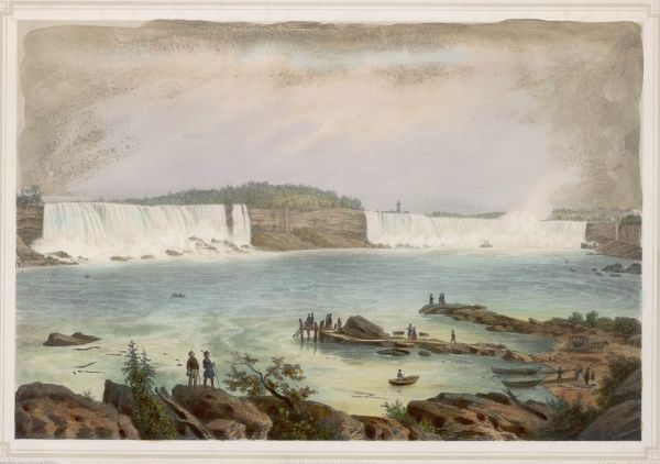 A panoramic view of the Falls - the American Falls on the left, the relatively small Bridal Veil Falls to the left of Goat Island, the Canadian or Horseshoe Falls beyond