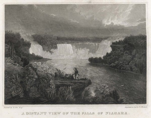 Two Native Americans stand on a rock enjoying a Distant View of the Falls of Niagara