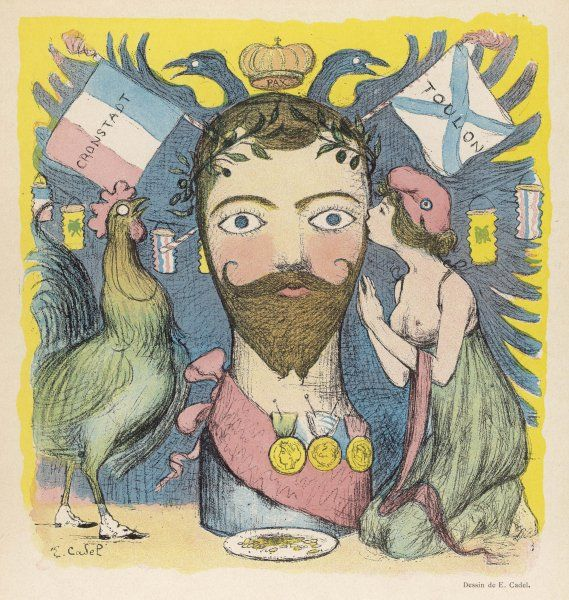 NIKOLAY ALEKSANDROVICH TSAR NICOLAS II (1894-1917) Satirical view, at a time when he was rather popular with the French people