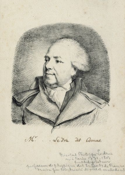 "Undated head and shoulders pencil sketch of Nicolas Philippe Ledru, known as ""Comus"", ""quack"" doctor. HPG/8/1/1 (i) &quot"