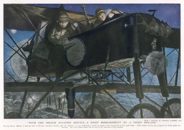 With the French Aviation Service - A Night Bombardment by a Voisin Biplane during World War One