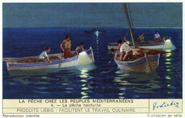 Night fishing, carried out in May-June on the Italian coast, uses lamps to attract the fish from the depths of the sea. Date: 1939