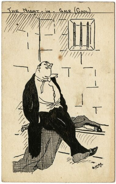 Humorous cartoon depicting a well-dressed reveller sitting resignedly in a prison cell following some sort of misdemeanour the previous evening