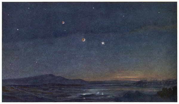 The night sky above the planet Mars, showing its two small moons and, at the appropriate seasons, planet Earth gleaming like the evening star