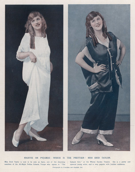 Nightie or Pyjamas ? - cabaret actress Enid Taylor models both... The lounging pyjamas have wide-legged trousers & an unusual jacket with a cape effect