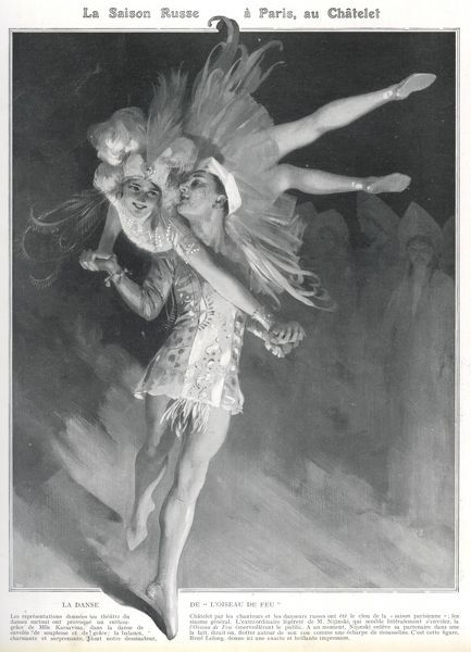 He sweeps Karsavina off her feet during the 'Oiseau de feu' (the Firebird) during the Saison Russe at the Chatelet Theatre, Paris