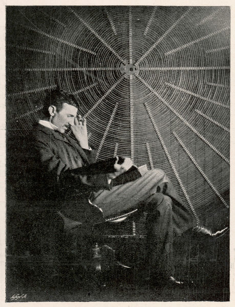 Nikola Tesla (1856-1943), Croatian inventor in his American laboratory