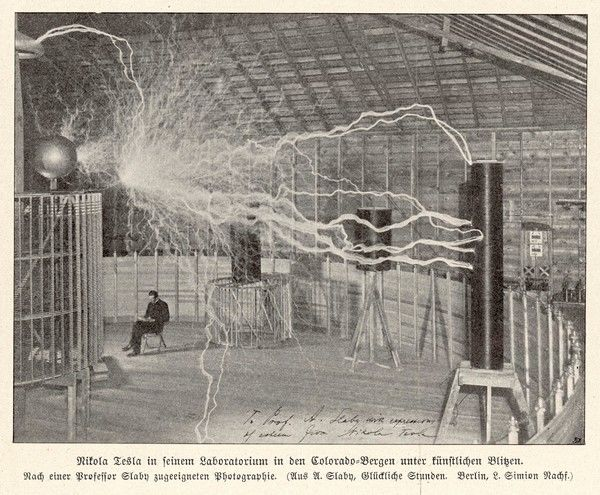 NIKOLA TESLA American electrician and inventor, born in Croatia of Serbian parents; seen here in his laboratory at Colorado Springs in 1899/1900