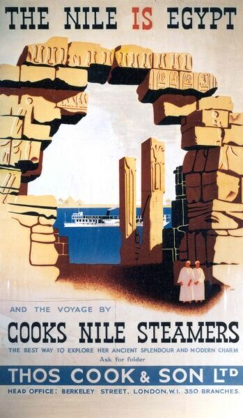 Poster or handbill advertising Cooks Nile Steamers, the best way to explore Egypt's ancient splendour and modern charm