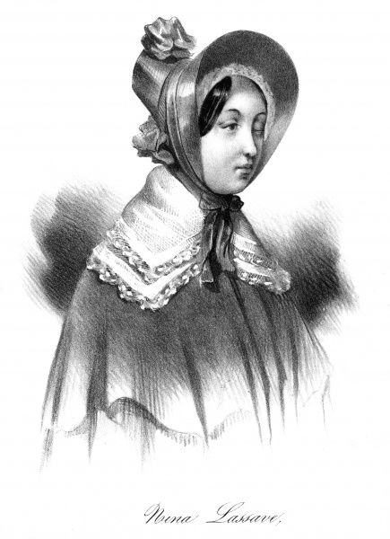 Nina Lassave, beloved and alleged accomplice of Guiseppe Fieschi, would-be assassin of King Louis Philippe of France. Date: 1835