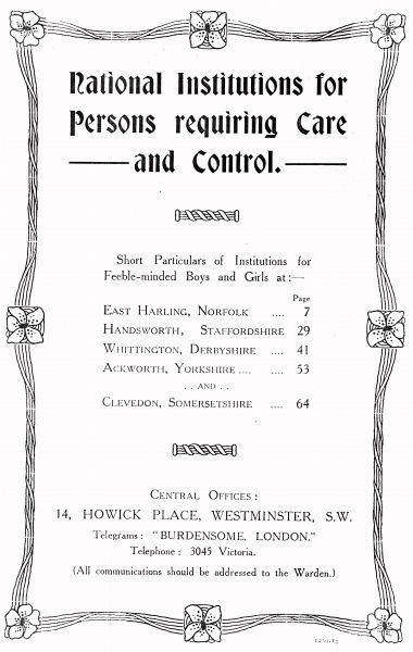 Part of a promotional brochure produced by the National Institutions for Persons Requiring Care and Control, an organisation privately run by the Rev Harold Burden to house 'feeble minded' children