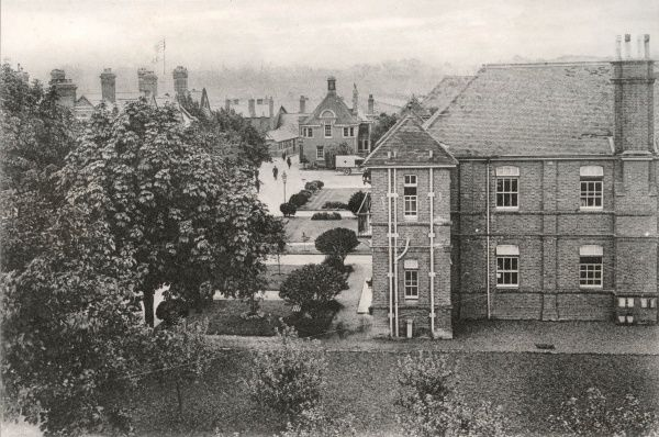 A view of the No. 1 War Hospital, Reading, Berkshire - the First World War deployment of Reading Union Workhouse. The workhouse, on Oxford Road, later became Battle Hospital