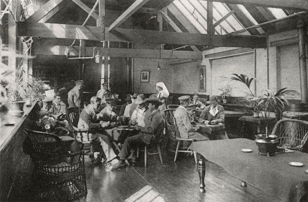 Recreation room at the No. 2 War Hospital, Reading, Berkshire - the First World War deployment of Battle School, Cranbury Road. Card games are in progress