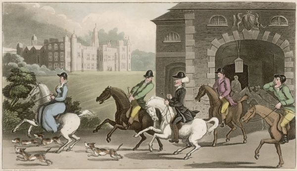 Dr Syntax sets out from a country manor on a hunt with several gentlemen and a lady riding side-saddle. Fox hounds accompany them