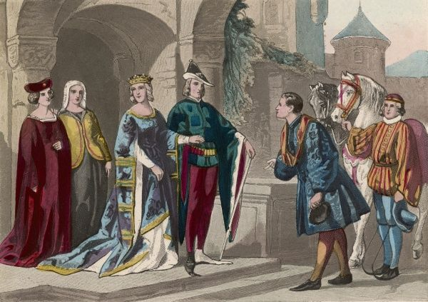 A nobleman and his wife leave their castle, surrounded by servants, groom and bailiff