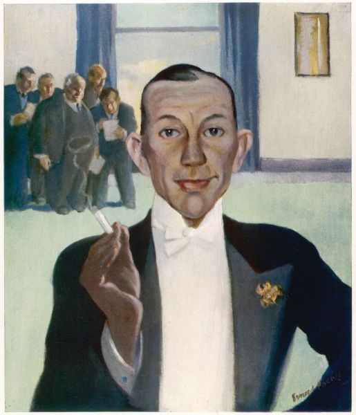 Caricature of Noel Coward (1899-1973), the English playwright, actor and composer, in 1938