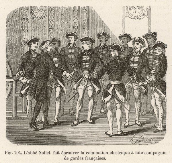 Nollet demonstrates electrical force at Versailles, sending a current through soldiers who stand with linked hands ; in one experiment he does this with 240 soldiers