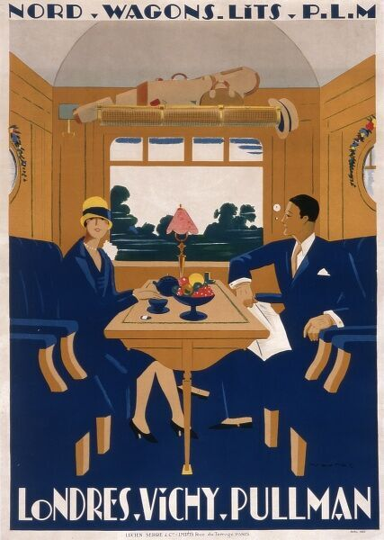 Poster from French company PLM for the Nord Wagons-Lits London to Vichy Pullman service. A couple enjoy tea in the comfortable interior of a pullman train carriage
