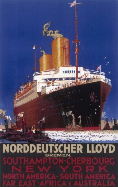 A poster for shipping company Norddeutscher Lloyd, who operated out of Bremen in North Germany. Lines from Southampton - Cherbourg - New York, North America - South America, and Far East - Africa and Australia are advertised