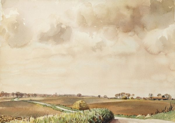 A orfolk landscape. Watercolour paining by Raymond Sheppard