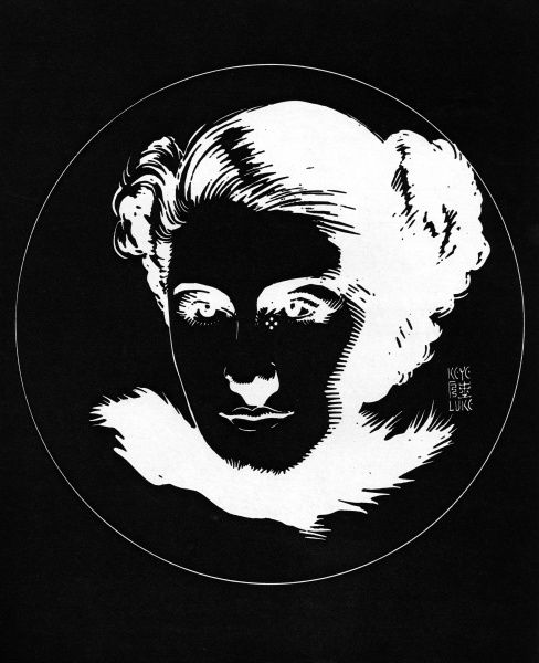 An optical illusion created by Japanese artist, Keye Luke with the face of actress Norma Shearer created in black and white. By staring at the four dots underneath her eye, you can then project her image onto a blank wall. Date: 1935