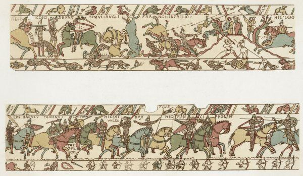 BATTLE OF HASTINGS Battle rages : Odo, bishop of Bayeux (William's brother) urges his men : William raises his helmet to show he is still alive