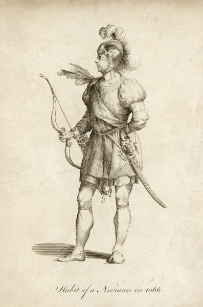 A Norman warrior armed with helment, bow and arrows and sword