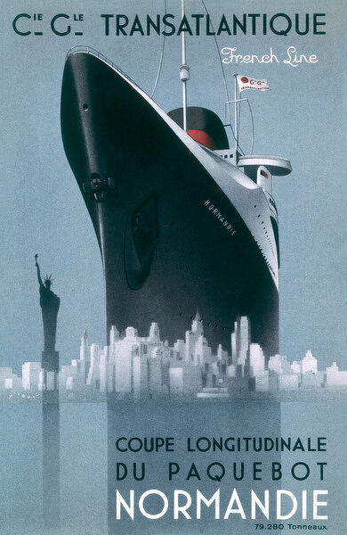 Poster emphasising the great size of the French transatlantic liner at Le Havre - dwarfing even the New York skyline