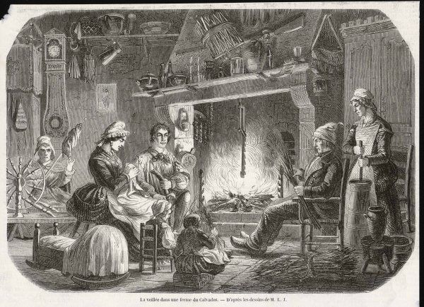 Industrious Norman peasants working by the fire in Calvados