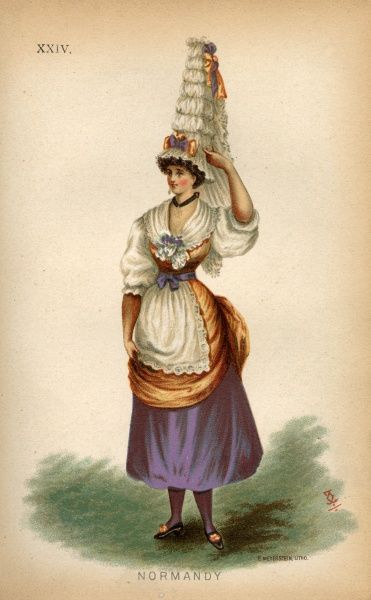 A fancy dress costume suggesting a late Victorian party goer dress as a Normandy peasant