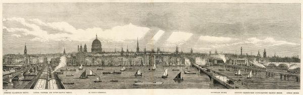 Engraving showing a view of the North bank of the River Thames from Blackfriars Bridge (extreme left) to London Bridge (extreme right), 1865. The other prominent buildings shown are (left to right): the London, Chatham and Dover Railway bridge; St