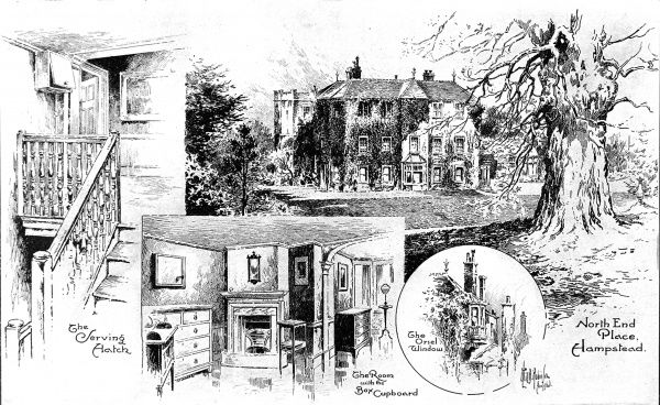 Illustration showing a number of views of North-End Place, Hampstead Heath, the former home of William Pitt, 1st Earl of Chatham