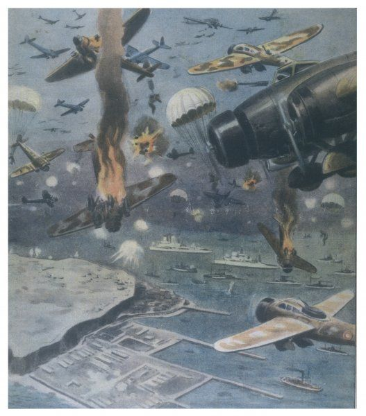 Aerial battle over the North Sea : highly imaginative Italian depiction showing a massive confrontation over Heligoland