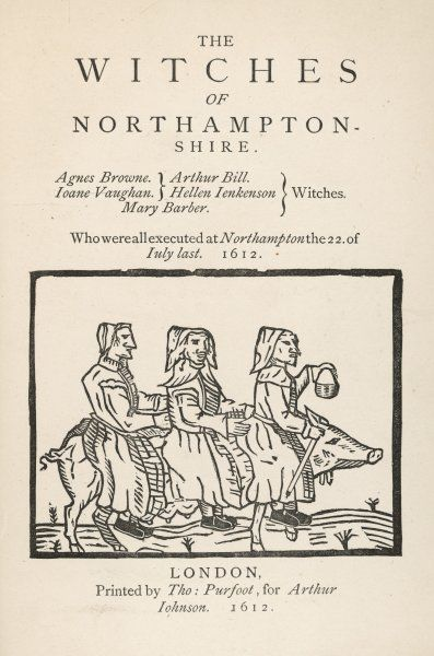 Three of the witches of Northamptonshire, riding a pig - no wonder they were condemned to death in July 1612