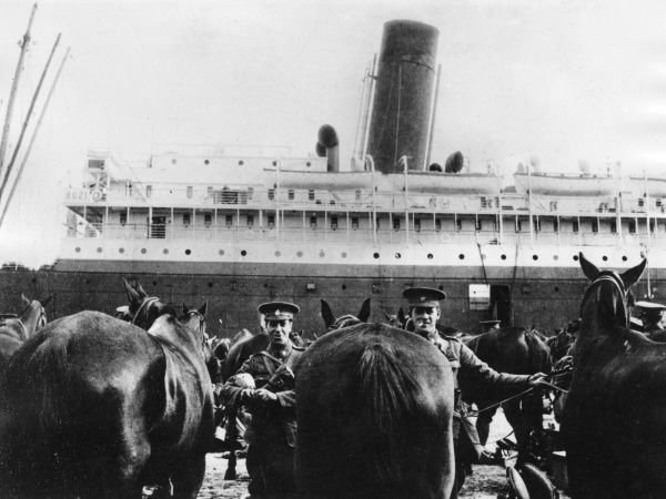 Men of the Northumberland Hussars, together with their horses, boarding the SS Minneapolis at Southampton, en route to Zeebrugge, Belgium, during the First World War.  October 1914