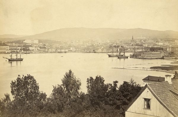 (formerly Christiania) general view of the city from Oslo Fjord. Date: circa 1890