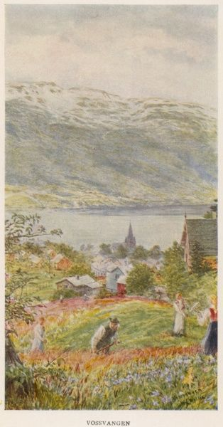 Vossvangen: people gardening on a slope above the town
