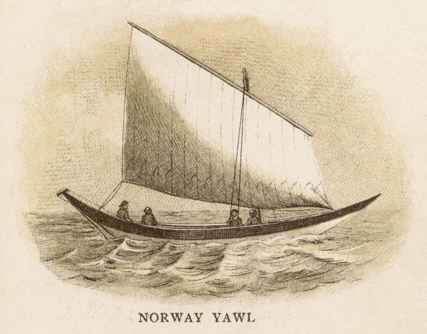 Norway yawl with a single large sail