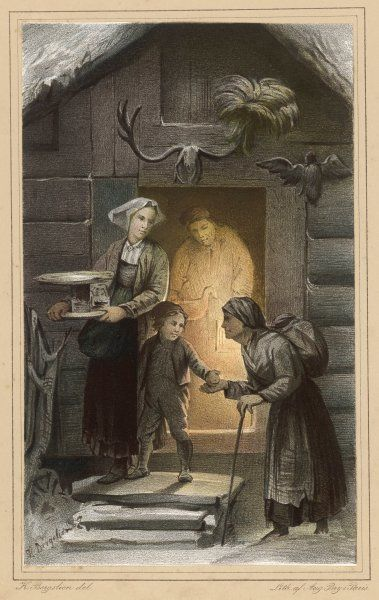Dispensing charity at the door of a Norwegian farmhouse