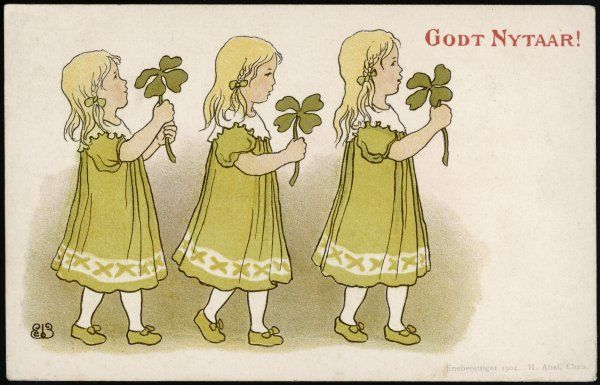 Three little Norwegian girls carry four-leaved clovers to wish you 'Godt Nytaar !&#39