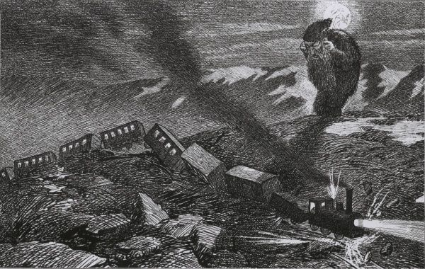 When the railway comes over Dovre Mountain, Norway. Caricature by Theodor Kittelsen (1857-1914) Date