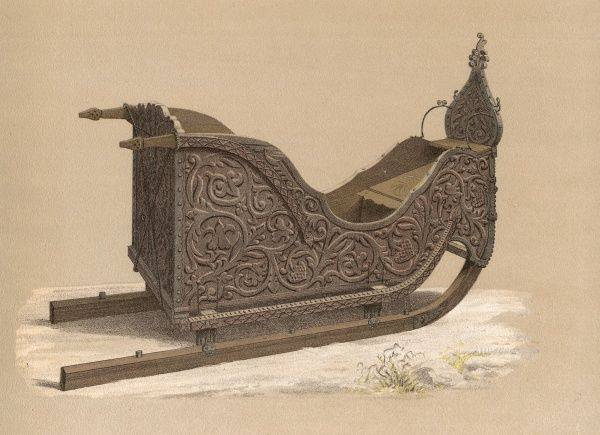 Ornate wooden sledge from Gudbrandsdalen, Norway Date: 1733